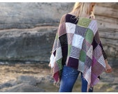 Sophisticated Hand-Knit Patchwork Poncho.