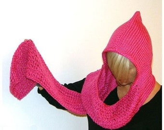 SALE. Endless Earflap Hat, Hoodscarf. Deep Pink.