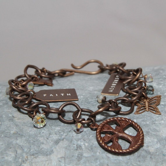 Charming Charm Bracelet with Inspirational Words, Charms in 100% Eco-Friendly Aged Brass