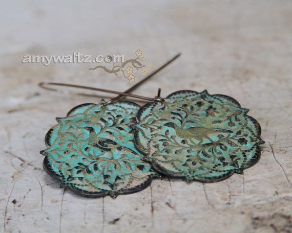 Earrings Bird Patina Green Spring Fresh A Partridge in a Pear Tree Chic Hip