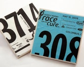 4 Coasters Made From Your Race Bib/Runner Number