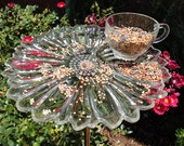 Bird Feeder made from Vintage Snack Tray and Cup - Sunflower - Garden Art