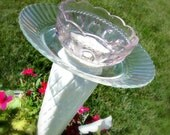 Cup and Saucer Bird Feeder OOAK -  Bird Bath - Candle Holder - Purple and White - Flower Pot Size