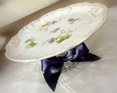 MARKED DOWN - Vintage Plate Pedestal - Shabby Chic Purple Flowers- Cupcake Stand/Dessert Pedestal