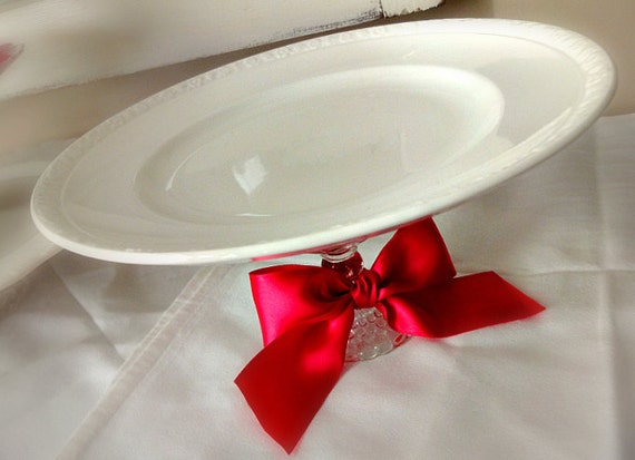 MARKED DOWN - Vintage Plate Pedestal - Simple Shabby White - 10 inch plate - Cake Stand - Dessert - Wedding