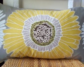 Sunflower Pillow Cover Daisy Pillow Cover Aurora Gray