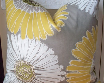 Daisy Pillow Cover Sunflower Pillow Cover Daisy Pillow Cover Aurora Gray