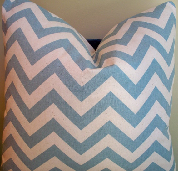 Decorative Pillow Blue Zig Zag Chevron Throw Pillow Accent Pillow 18""