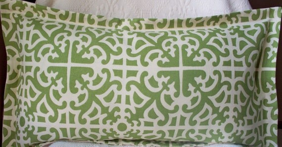 Green Ivory Damask Decorative Pillow Designer fabric 12X22