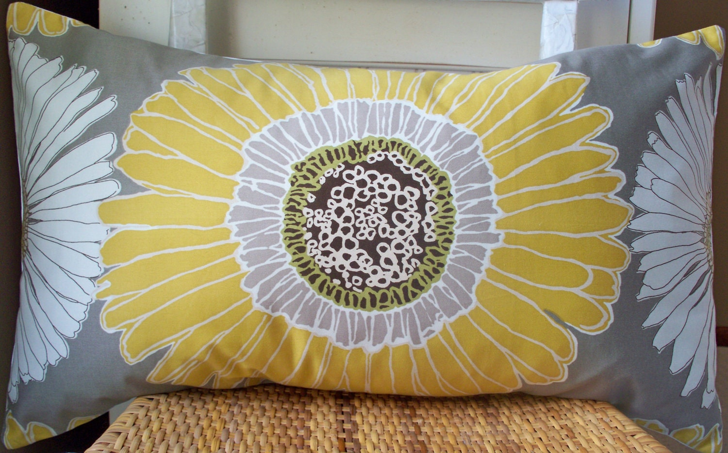 Sunflower Pillow Cover Daisy Pillow Cover Aurora Gray