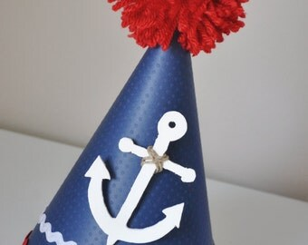 Boy's Little Anchor Sailor Birthday Hat, Special Occasion, 1st Birthday