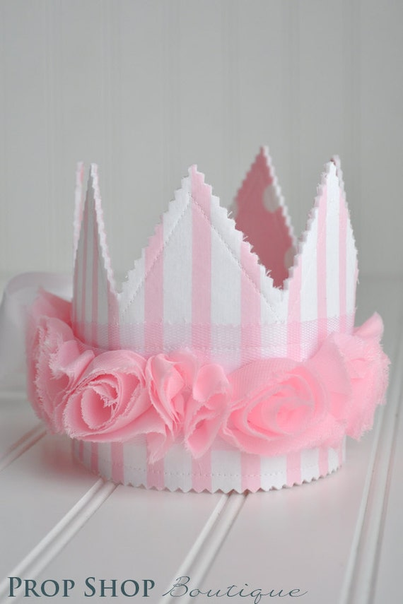 Girls Pink and White Rosette Fabric Crown, Party Hat, Photo Prop