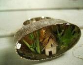 Tiny Terrarium Ring with Birch Bark House No.1