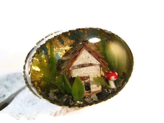 Tiny Terrarium Ring With Birch Bark House no.17