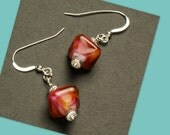 CLEARANCE EARRINGS Red, Burgundy, Amber Lampwork Beads French Wire  - SRAJD Teal Eve's tealeves