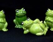 FROGS Frogs Frogs-4 Cute Ceramic Green Frogs