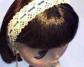 Charming Cream and Navy Blythe Headband