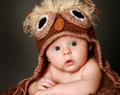 The Owl Hat Natural color 0-1, 2-3 and 3-6 mo -- great photo prop or perfect gift for Baby Shower