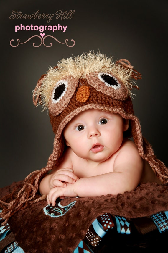The Owl Hat Natural color - Photo prop 6 - 12, 12 -18, 18- 24 months size - Great photo prop or Baby Shower gift
