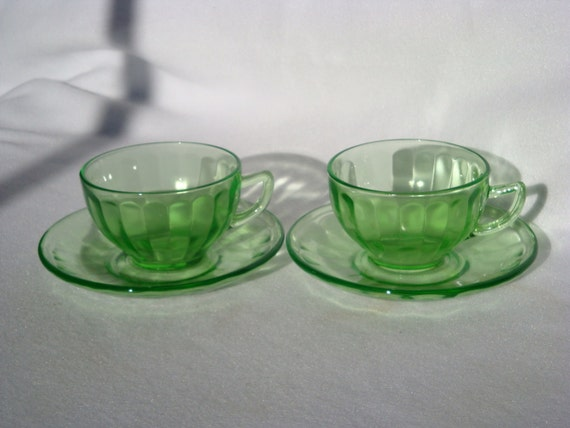 2 Federal Green Depression Glass Cups & Saucers