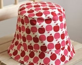 Girl's Summer Bucket Hat Red Apples- Reversed pink side with apple applique, 2T to 3T, Ready to Ship