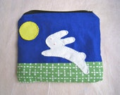 "Rabbit and the moon - my first small wallet - kids zipper pouch, small purse, fully lined with navy fabric, padded, 4"" x 5"""
