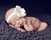 Baby Headband - Baby Flower Headband - Baby Girl Baptism Headband - Christening - White Flower Headband - Toddler Headband