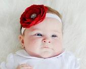 Baby Headband..Newborn Headband..Toddler Headband..Baby Girl Red Flower Headband with Rhinestones..Baby Red Flower Valentines Day Headband.