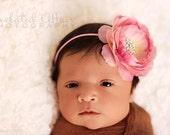 Baby Headband. Baby Pink Flower Headband with Rhinestones..Skinny Headband..Baby Girl Headband..Toddler..Newborn..Infant.