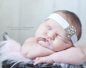 BEJEWELED Headband..White Baby Headband..Newborn Baby Girl Photo Prop..Baby Girl Rhinestone Headband..Infant Headband..Photoprop
