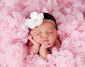Baby Headband..Baby Girl Headband..Baby Girl Christening or Baptism Headband..Diamond White Flower Headband with Pearls and Rhinestones
