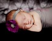 Baby Headband..Purple and Gray Flower Headband..Infant..Newborn Headband..Purple Flower Gray Headband..Purple Flower..Newborn Photo Prop