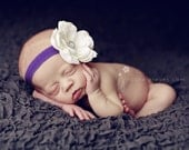Baby Headbands..Infant Headband..Baby Girl Flower Headbands..White Flower on a Purple Headband with rhinestones..Toddler Purple Headband