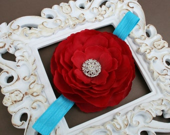 Baby Girl Red Flower on Turquoise Headband with Rhinestones..Red and Turquoise Headband for Baby..Newborn Baby Red Flower Headband