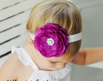 Baby Headband.Baby Girl Purple Flower Headband with Rhinestones.Toddler Headband.Infant Headband..Flower Girl..Purple Hair Bow..Pageant