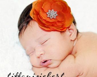 Baby Headband..Baby Girl Orange Flower Headband with Rhinestones...Newborn Girl Orange Headband for Halloween...Baby Orange Flower Headband