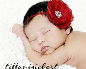 Baby Headband..Baby Flower Headband..Baby Girl Red Valentines Day Headband..Baby Girl Red Flower Headband with Rhinestones.