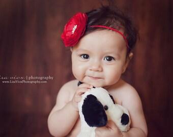 Baby Headbands..Baby Girl..Baby Headband..Baby Flower Headband..Baby Girl Red Flower Headband..Christmas Headband