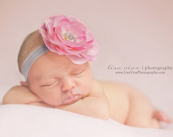 Pink and Gray Baby Flower Headband..Infant Headband..Baby Girl Flower Headband..Pink Flower on a Silver Gray Headband with rhinestones