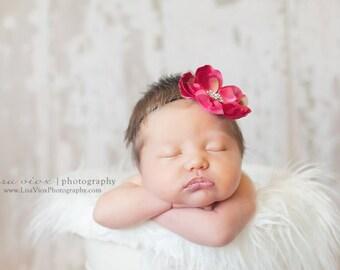 Baby Headband..Baby Pink Flower Headband..Baby Girl Dark Pink Flower Headband. Infant Pink Flower Headband. Newborn Pink Flower Headband.