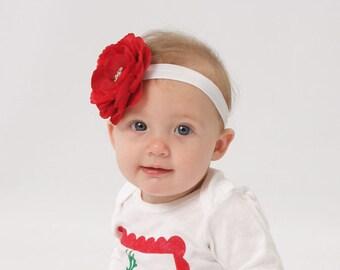 Baby Headband..Baby Flower Headband..Baby Girl Red Valentines Day Headband..Baby Girl Red Flower Headband with Rhinestones.