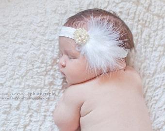 Christenig Headband..Baptism Headband..Feather Headband..Pearl Headband..White Christening Headband..Baby headband..Newborn Headband..Prop