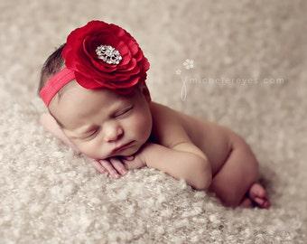 Baby Headbands..Baby Girl..Baby Headband..Red Headband..Baby Flower Headband..Red Flower Headband..Christmas Headband