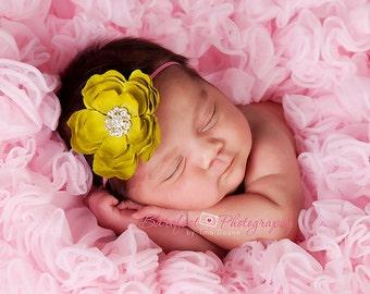 Baby Headband..Baby Girl Lime Green and Hot Pink Flower Headband..Baby Headband..Baby Lime Green and Hot Pink headband..little girl headband