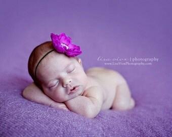 Baby Headband..Purple Flower Headband..Infant Headband..Newborn Headband..Purple Flower Skinny Black Headband..Purple Flower..Newborn Prop