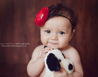 Baby Headband..Baby Girl..Baby Headbands..Baby Girl Red Headband..Christmas..Red and Black Headband.