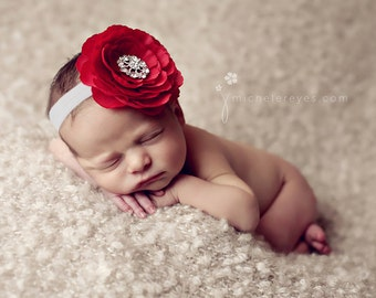 Red and White Flower Headband with Rhinestones..Baby Girl Red Flower Headband..Large Flower Headband..Baby Headband..Baby Flower Headband