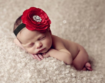 Red and Black Flower Headband with Rhinestones..Baby Girl Red Flower Headband..Large Flower Headband..Baby Headband..Baby Flower Headband