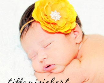 Baby Girl Yellow Flower Headband..Rhinestones..Yellow  Headband..Infant Flower Headband..Toddler Flower Headband..Newborn Headband