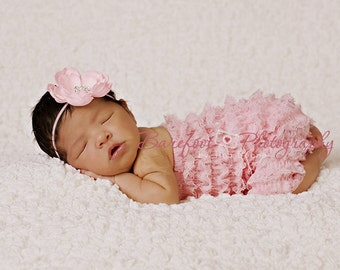 Infant Baby Headband. Baby Pink Flower Headband with Rhinestones..Skinny Headband..Baby Girl Headband..Toddler..Newborn..Infant.